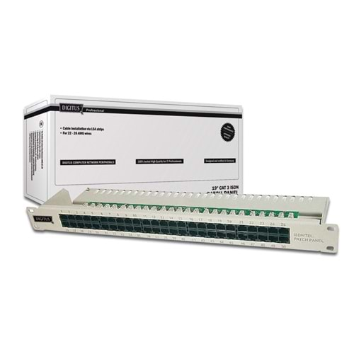 DİGİTUS 19 INCH 50 PORT CAT-3 ISDN PATCH PANEL ZIRHSIZ DN-91350-1